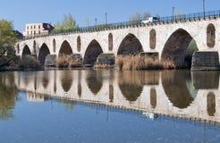 Bridge of Zamora. Roman bridge in the Spanish city of Zamora with reflections in the river Stock Images