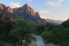 From the Bridge at Zion National Park - The Watchman. The Bridge at Zion National Park gathers Photographers from all over the world shooting the Watchman at Stock Photo