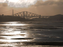 Bridges 4. Forth road and rail bridges from Cramond Island stock image