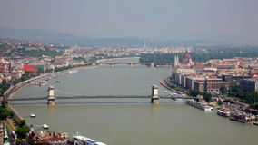 Bridges across Danube river in sunny day, Budapest stock video footage