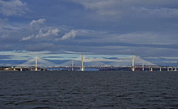 3 bridges across the forth Scotland. Queensferry crossing , forth road bridge and the oldest the forth rail bridge . All fantastic works of engineering across Royalty Free Stock Photography