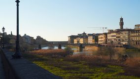 Bridges across the river arno in florence. Evening time stock video footage