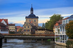 Bridges, Altes Rathaus and cloudy sky in Bamberg Royalty Free Stock Photography