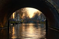 7 Bridges of Amsterdam. A shot during sunset of the seven bridges of Amsterdam stock images
