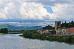 Bridges and architecture along river Arno in Florence, Tuscany Royalty Free Stock Photos