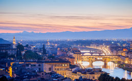 Bridges the arno river florence italy old town in late evening sunset Stock Photos
