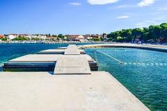 The Vodice cityscape. The bridges on the background of Vodice cityscape, Croatia royalty free stock image