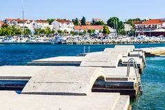 The Vodice cityscape. The bridges on the background of Vodice cityscape, Croatia stock photos