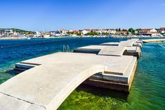 The Vodice cityscape. The bridges on the background of Vodice cityscape, Croatia royalty free stock photos