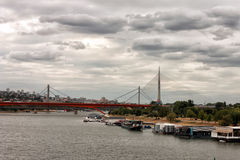Bridges in Belgrade, the Sava river Royalty Free Stock Images