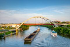 Bridges and Boats on the Cumberland River. From Nashville, Tennessee, USA Stock Photo