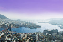 Bridges of Busan. Busan, South Korea - November 28th, 2015: Busan, view of city Busan from Busan Tower in Yongdusan Park Royalty Free Stock Images