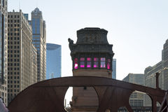 Bridges of Chicago downtown. Bridgehouse at LaSalle Drivewith beautifully lit pink glass windows is a prime example of vintage elements in Chicago downtown Royalty Free Stock Image