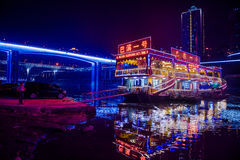 The bridges of Chongqing in night stock images