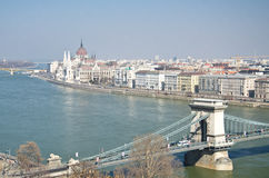 Bridges of Danube and the Hungary Royalty Free Stock Photo
