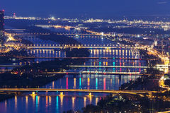 Bridges on Danube River in Vienna Stock Photo