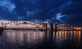 The bridges. Divorced bridge across the Neva River in St. Petersburg shot in white nights Royalty Free Stock Photo
