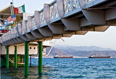 The bridges of Eilat city. This shot was taken at the morning time in the gulf of Eilat - one of the famous tourist spot  and resort city in Israel Royalty Free Stock Image