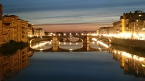 Bridges of Florence, Italy - night scene Stock Photography