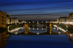Bridges of Florence at night Royalty Free Stock Photo