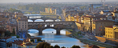 Bridges of Florence on sunset Stock Image