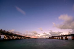 Bridges of Florida Keys under night sky Stock Photos