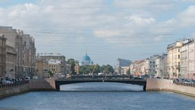 Bridges on The Fontanka River and The Trinity Cathedral in the summer Stock Image
