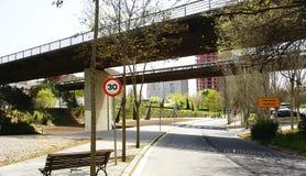 Bridges on the garden area. In Collblanc, Barcelona Stock Photos