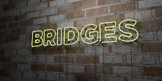 BRIDGES - Glowing Neon Sign on stonework wall - 3D rendered royalty free stock illustration. Can be used for online banner ads and direct mailers vector illustration