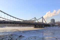 Krymsky Bridge in Moscow in winter stock photo