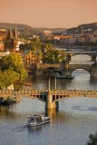 Bridges In Prague Over The River Vltava At Sunset Stock Photography