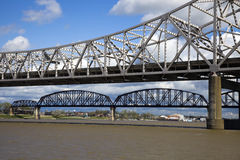 Bridges between Kentucky and Indiana. Ohio River royalty free stock photography