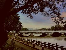 Bridges on the lakeside stock images