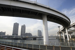Bridges leading to a city. A freeway connecting people to the city in Japan Stock Photos