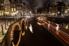 Bridges at the Leidsegracht and Keizersgracht canals intersectio Stock Image