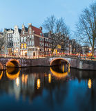 Bridges at the Leidsegracht and Keizersgracht canals intersectio Royalty Free Stock Photography