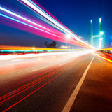 Bridges and light trails Royalty Free Stock Photography