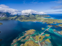 Bridges on Lofoten from air Stock Photography