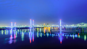 Bridges of Louisville KY at dawn stock images