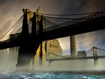 Bridges of Manhattan. Recreation of two of the  Manhattan bridges. View of  Manhattan bridge from under the Brooklyn bridge Royalty Free Stock Photo