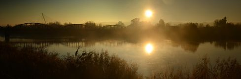 Bridges in the mist Stock Image
