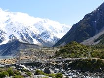 Path ways at mt.cook. The bridges at mt.cook. Beautiful path ways Royalty Free Stock Image