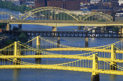 Bridges over the Allegheny River, Pittsburgh, PA Royalty Free Stock Photos