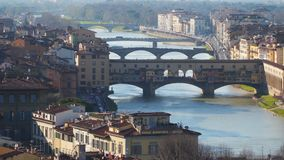 Bridges over the Arno River in Florence. Italy stock footage