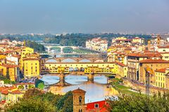 Bridges over Arno river in Florence Stock Images