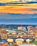 Bridges over Arno river in Florence Royalty Free Stock Images