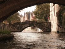 Bridges over canal in belgian Bruges Royalty Free Stock Images