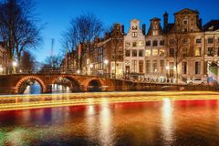 The bridges over the canal Leidse Gracht in the old town of Amst royalty free stock image