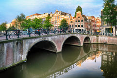 Bridges over canals in Amsterdam, Netherlands Royalty Free Stock Photo