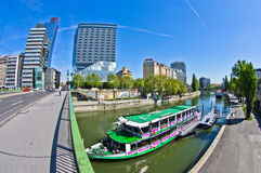 Bridges over channel of Danube river in Vienna Stock Photos